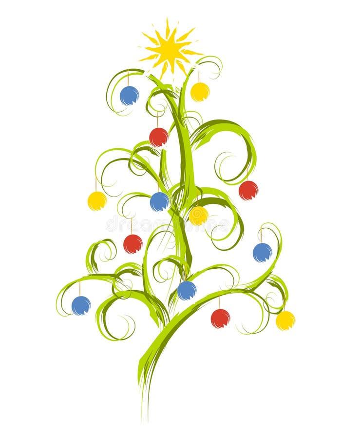 抽象圣诞节草图结构树 皇族释放例证