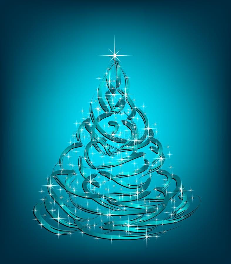 抽象圣诞节蓝色结构树。 向量 库存例证