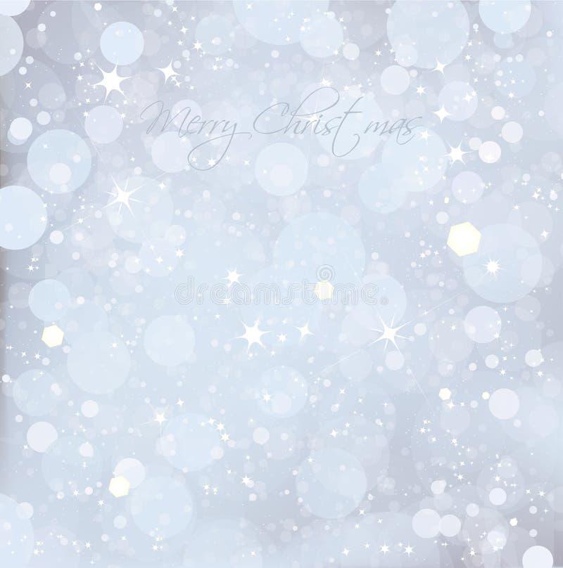 抽象圣诞节雪蓝色背景。 向量 库存例证