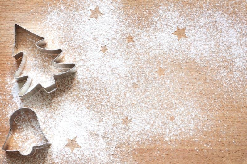 抽象圣诞节食物背景用曲奇饼 免版税库存照片