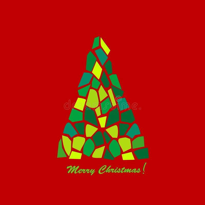 抽象圣诞节马赛克结构树 皇族释放例证