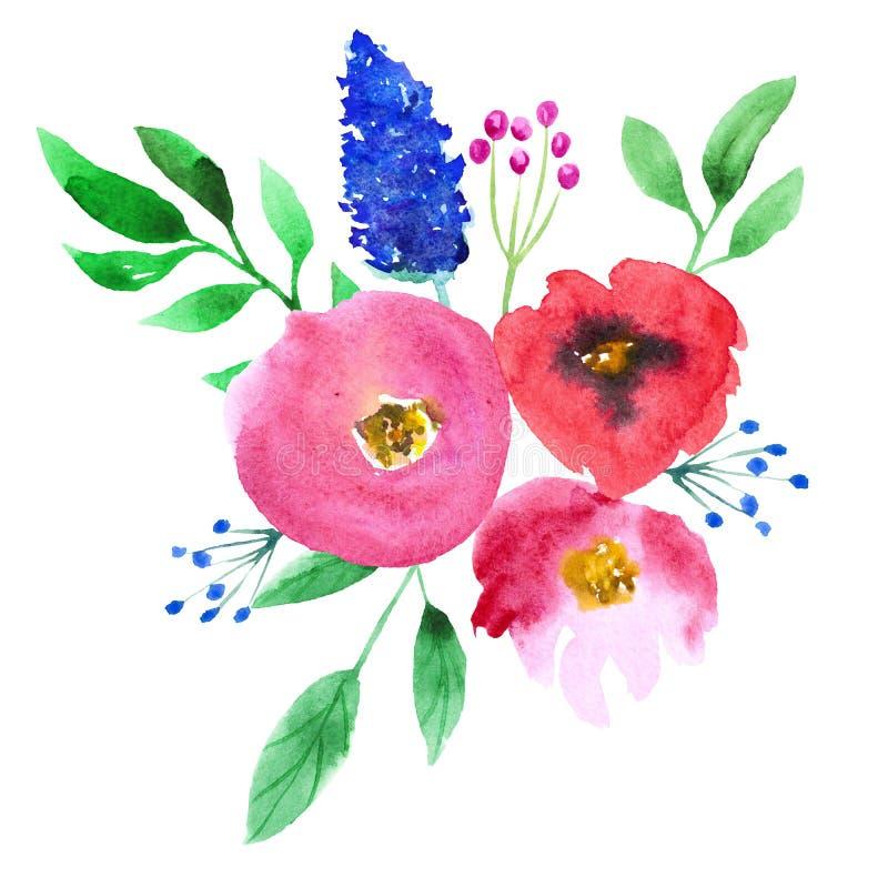 抽象在白色背景的水彩桃红色和蓝色花 手画 向量例证