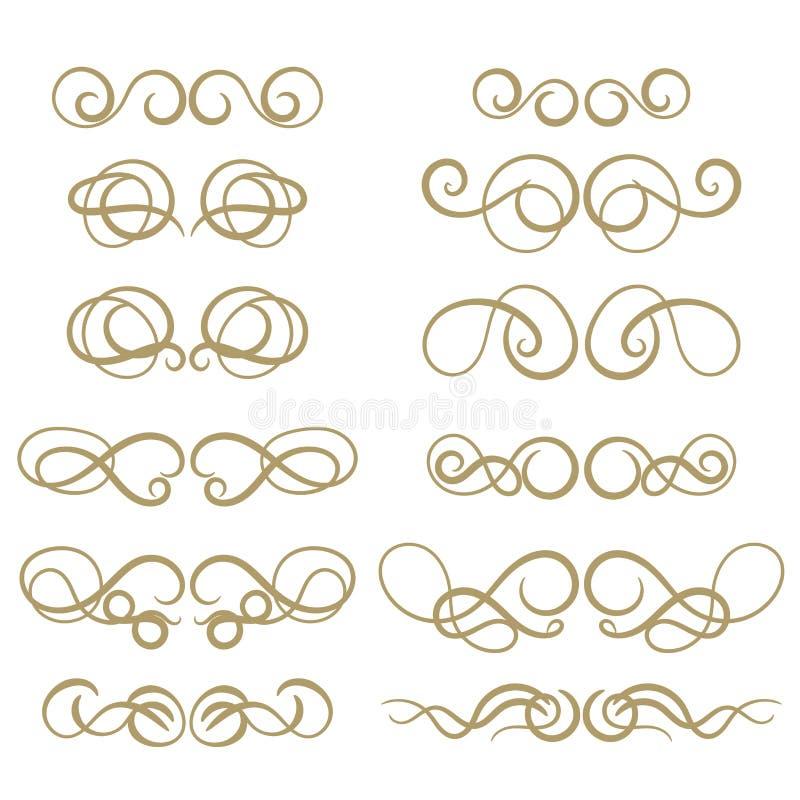 抽象在白色背景的金子卷曲设计元素集 在减速火箭的样式的分切器 库存例证