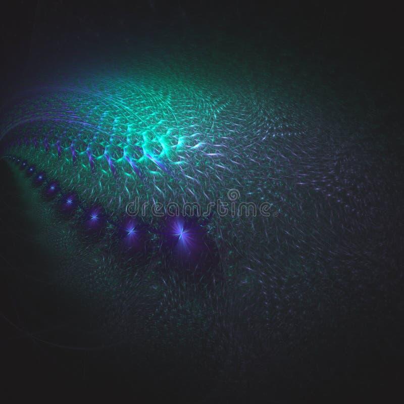 抽象在紫色和绿松石颜色的分数维超现实的星系 皇族释放例证