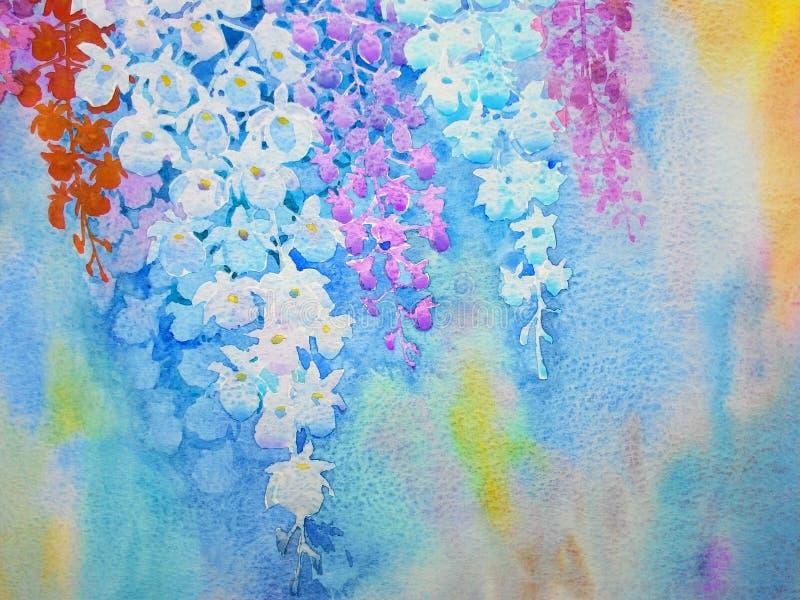 抽象在纸五颜六色的水彩原始的绘画兰花开花 库存例证
