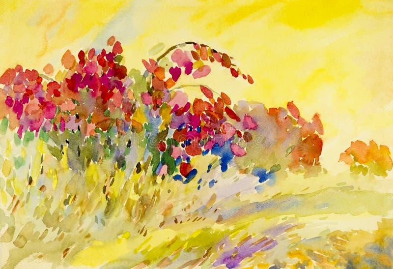 抽象在纸五颜六色的水彩原始的绘画花 库存例证