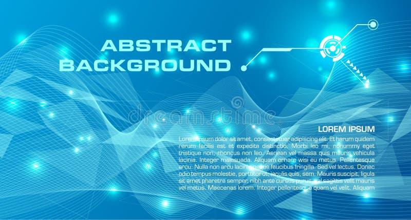 抽象在蓝色颜色的传染媒介五颜六色的背景与三角, 皇族释放例证