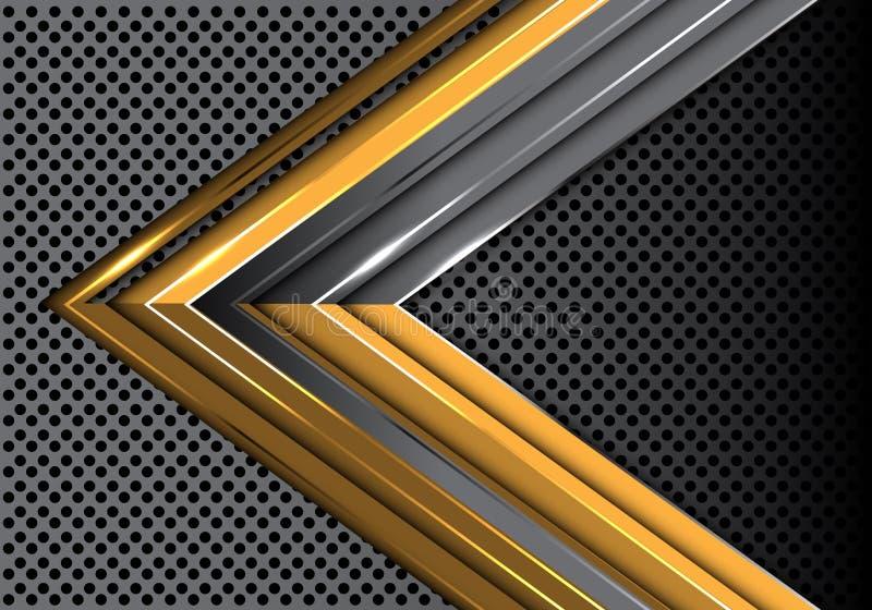抽象在金属圈子滤网设计现代未来派创造性的背景传染媒介的金灰色箭头 皇族释放例证
