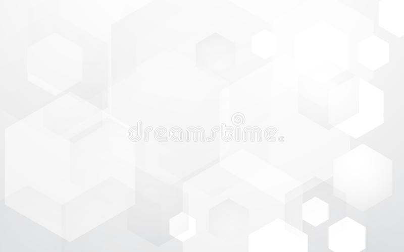 抽象在黑白背景的技术数字式高科技六角形概念 向量例证