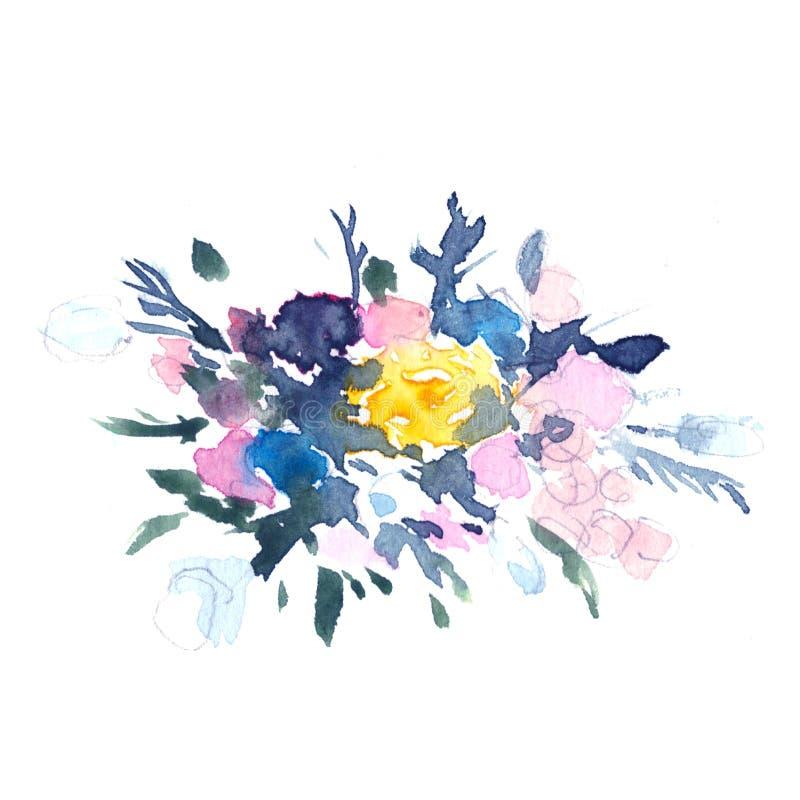 抽象在la prima样式的水彩花卉例证,水彩玫瑰-花,枝杈,叶子,芽 手 库存例证