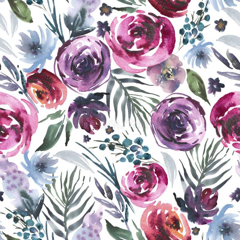 抽象在la prima样式的水彩花卉无缝的样式,红色水彩玫瑰-花,枝杈,叶子,芽 手画 向量例证