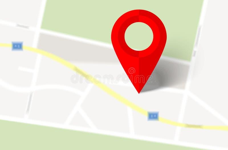 抽象地图和红色地图标志 皇族释放例证