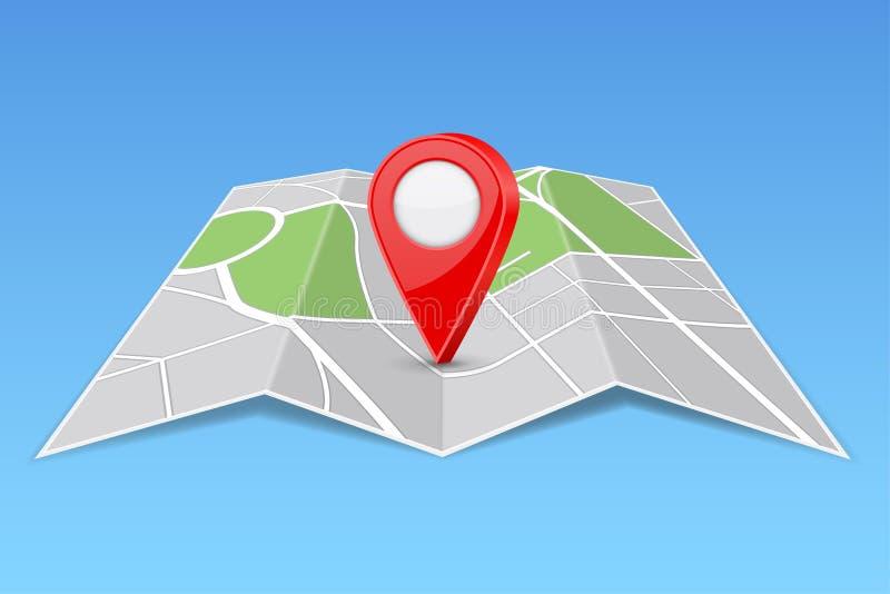 抽象地图纸折叠与地点标志 向量例证