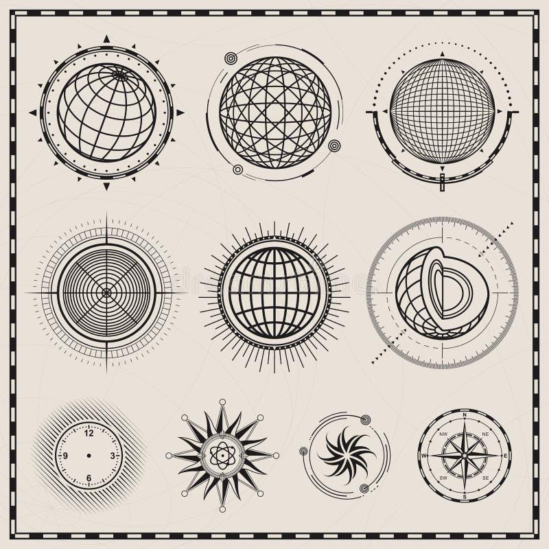 抽象地球和指南针标志 库存例证