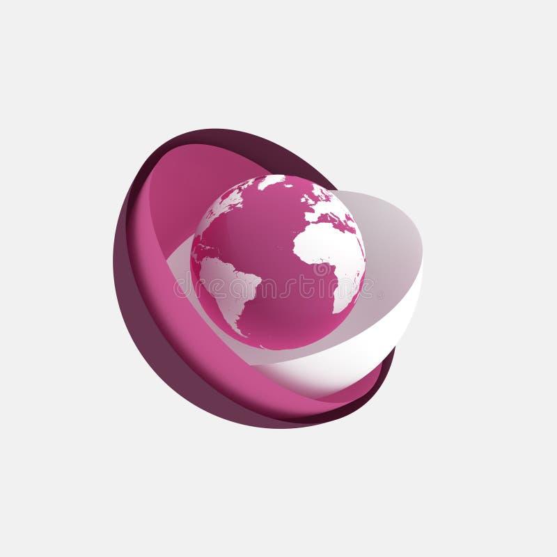 抽象地球粉红色 向量例证