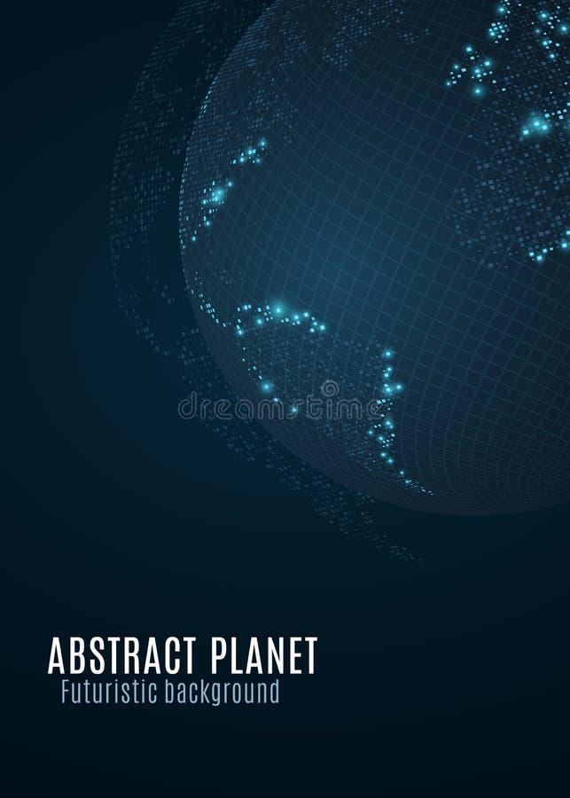 抽象地球行星 小小点蓝色发光的地图  背景黑暗未来派 空间概念 高科技 例证映射旧世界 全球净额 向量例证