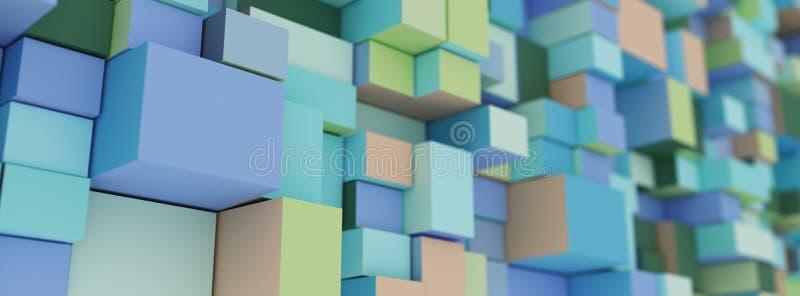 抽象地面箱子,立方体 皇族释放例证