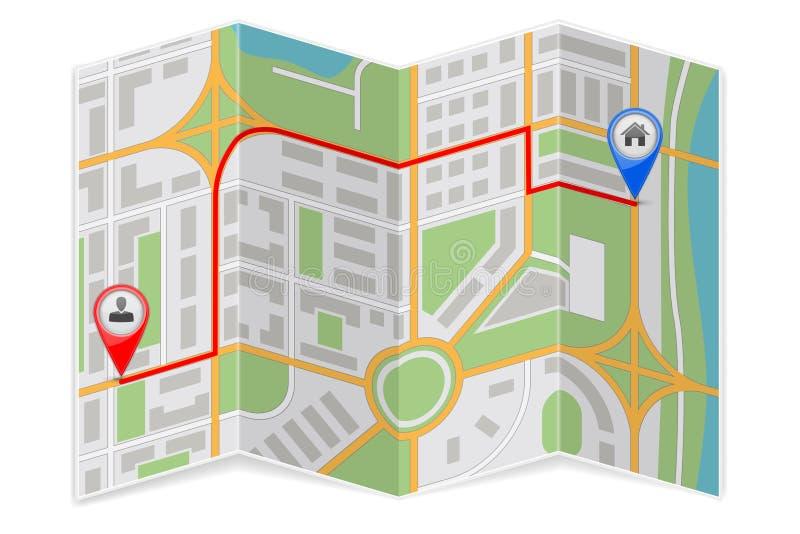 抽象城市地图纸折叠与目的地路线 向量例证