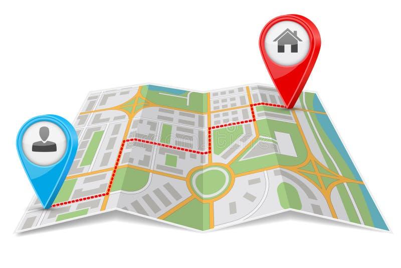 抽象城市地图纸折叠与目的地路线 库存例证