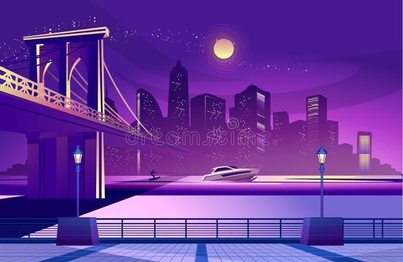 抽象城市晚上 库存例证