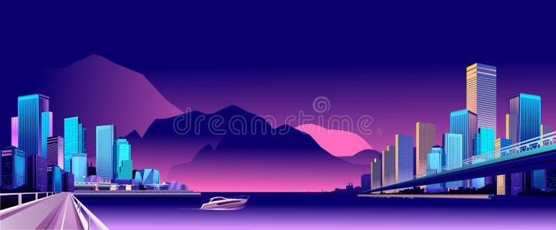 抽象城市晚上 向量例证