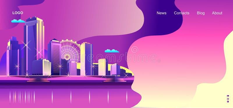 抽象城市横幅 库存例证