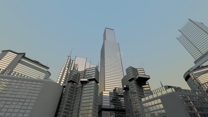 抽象城市现代地平线 向量例证