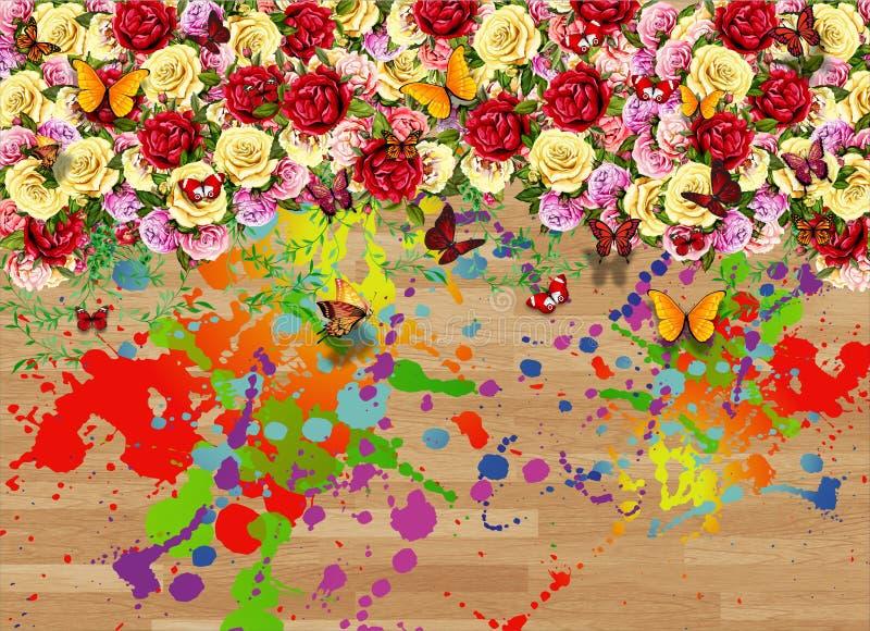 抽象墙壁艺术花卉颜色蝴蝶设计 库存例证
