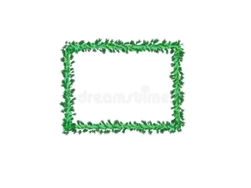 抽象墨水水彩、绿色叶子框架在白色背景与拷贝空间横幅的或商标 皇族释放例证
