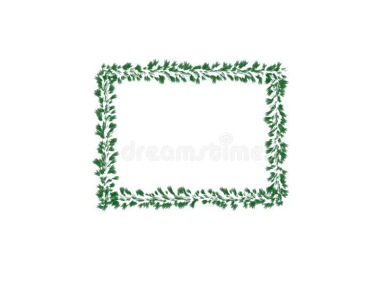 抽象墨水水彩、绿色叶子框架在白色背景与拷贝空间横幅的或商标 库存例证