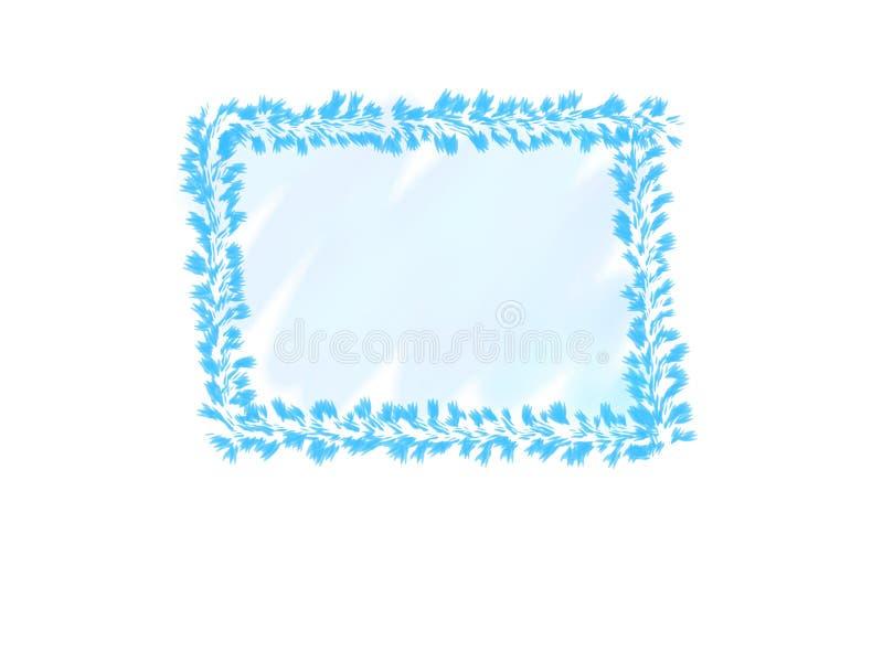 抽象墨水水彩、蓝色叶子框架在白色背景与拷贝空间横幅的或商标 向量例证