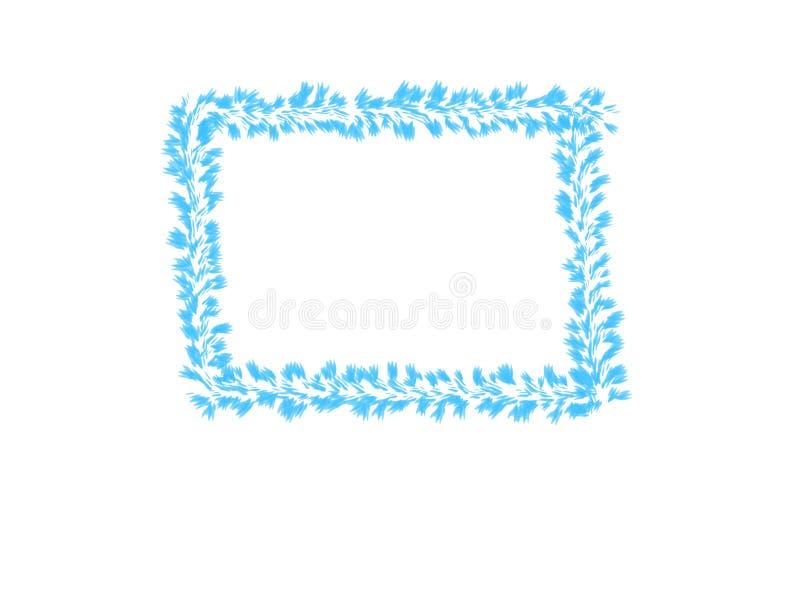 抽象墨水水彩、蓝色叶子框架在白色背景与拷贝空间横幅的或商标 皇族释放例证