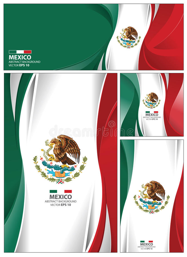 抽象墨西哥旗子背景 皇族释放例证