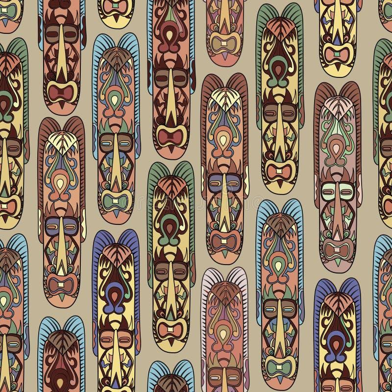 抽象墨西哥种族样式 美国面具无缝的背景 库存例证