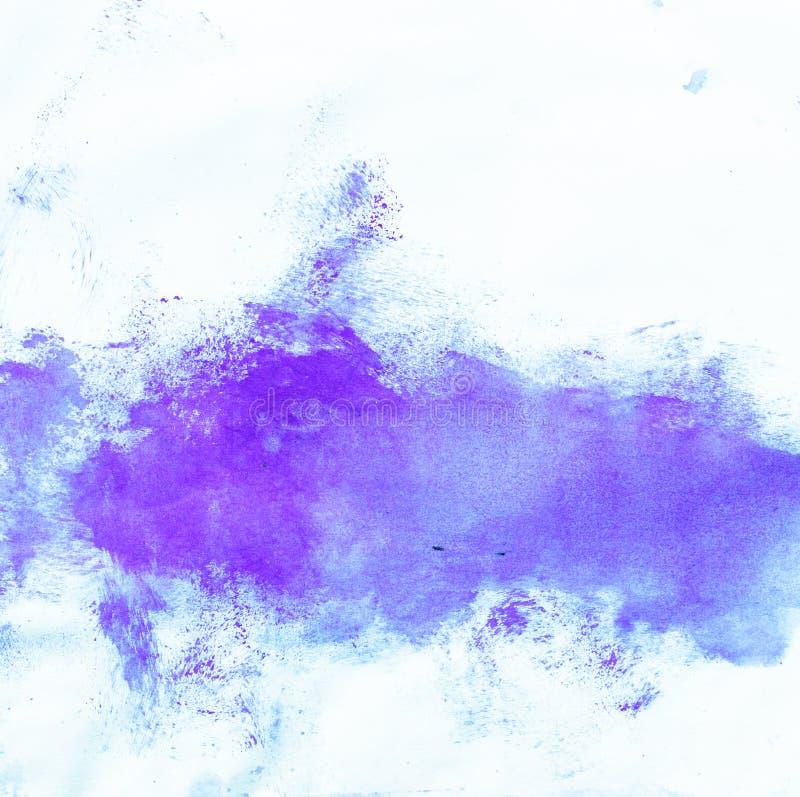 抽象墨水油漆 在白色背景的墨水纹理 被生动描述的蓝色抽象水彩画背景 免版税库存图片