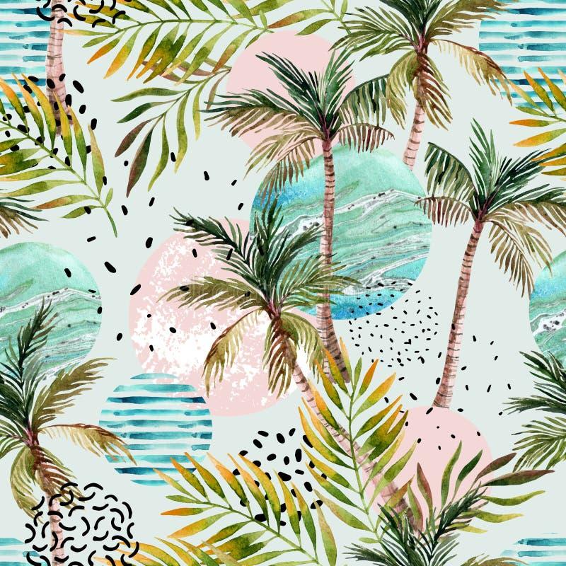 抽象夏天热带棕榈树背景 向量例证