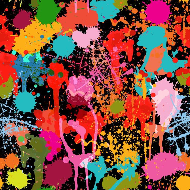 抽象多彩多姿的油漆飞溅传染媒介无缝的样式 向量例证