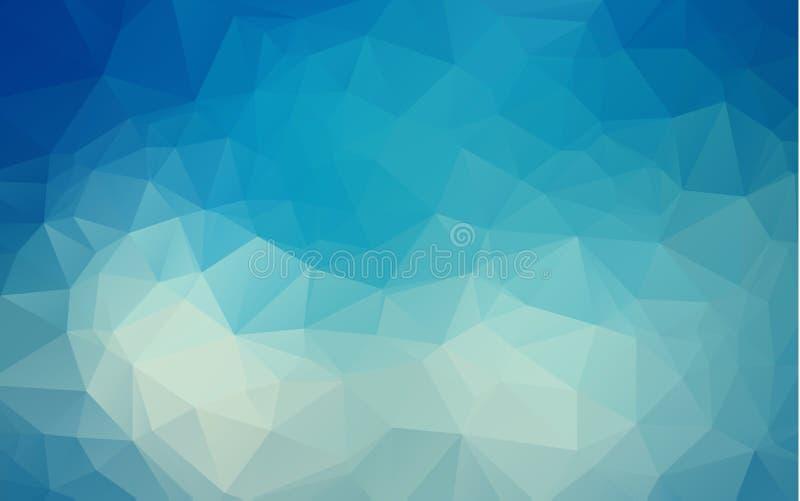 抽象多色深蓝几何弄皱的三角低多样式梯度例证图表背景 传染媒介多角形 向量例证