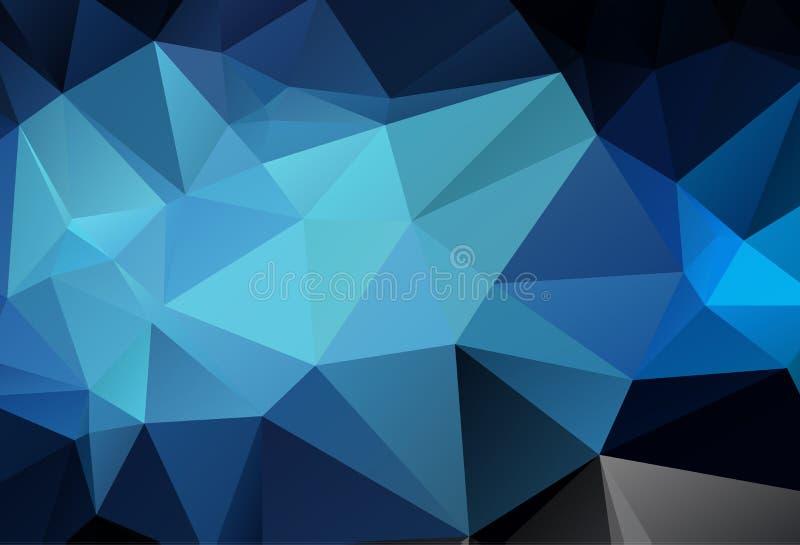 抽象多色深蓝几何弄皱的三角低多样式梯度例证图表背景 传染媒介多角形 库存例证