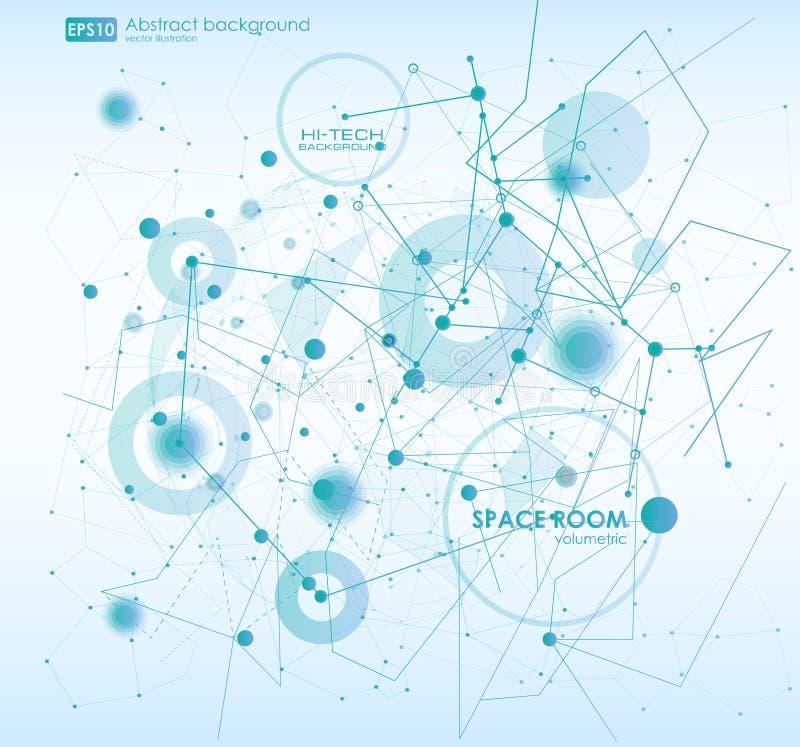 抽象多角形与连接的小点和线的空间低多背景 连接结构 传染媒介科学 库存例证