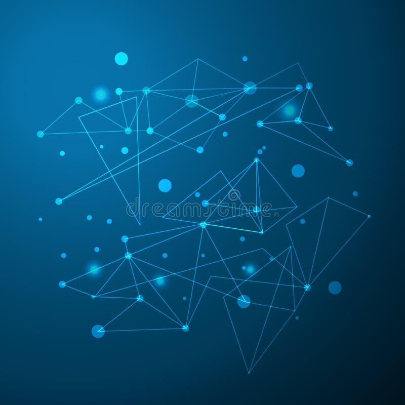 抽象多角形与连接的小点和线的sace蓝色背景 连接结构 传染媒介科学背景 皇族释放例证