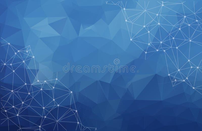 抽象多角形与connectin的空间低多黑暗的背景 向量例证