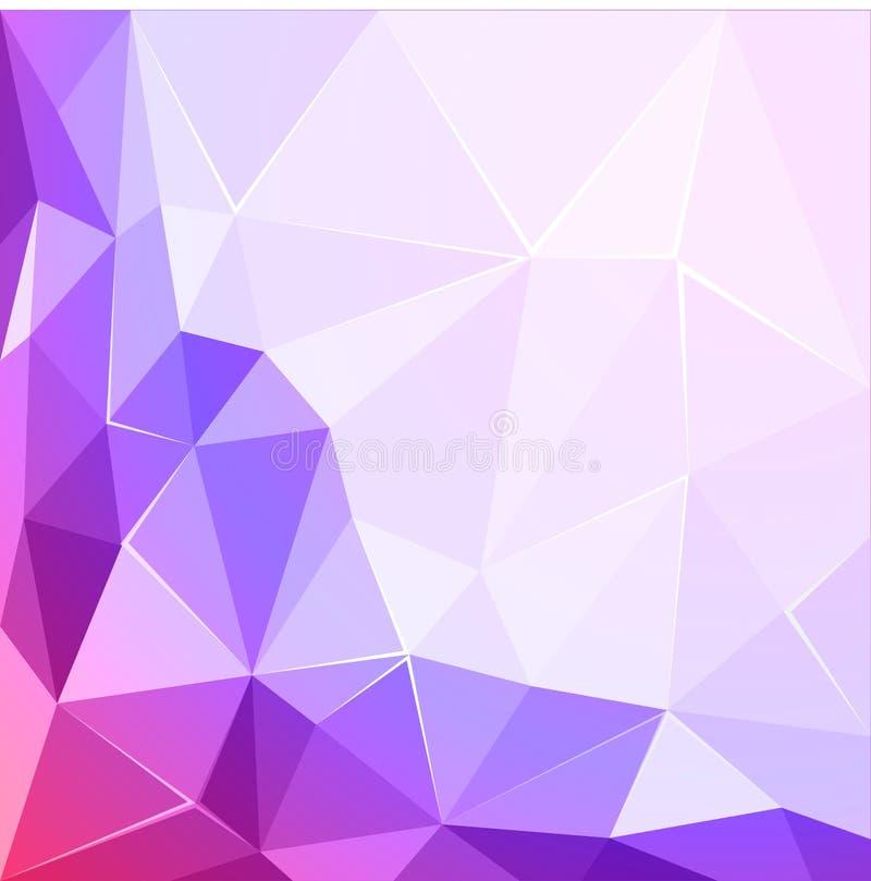 抽象多角形几何小平面发光的桃红色和紫罗兰色背景例证 库存例证