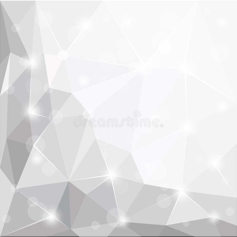 抽象多角形几何小平面发光的白色,灰色和银色背景例证 库存例证