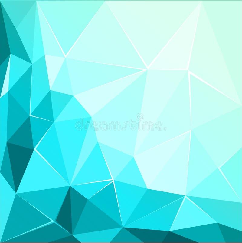 抽象多角形几何小平面发光的绿松石背景例证 皇族释放例证