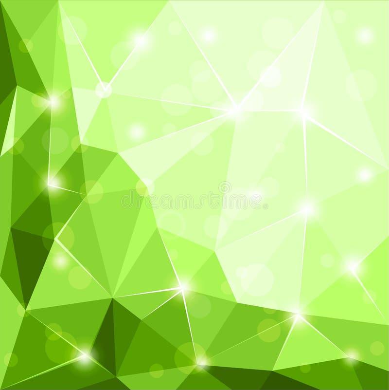 抽象多角形几何小平面发光的绿色背景 皇族释放例证