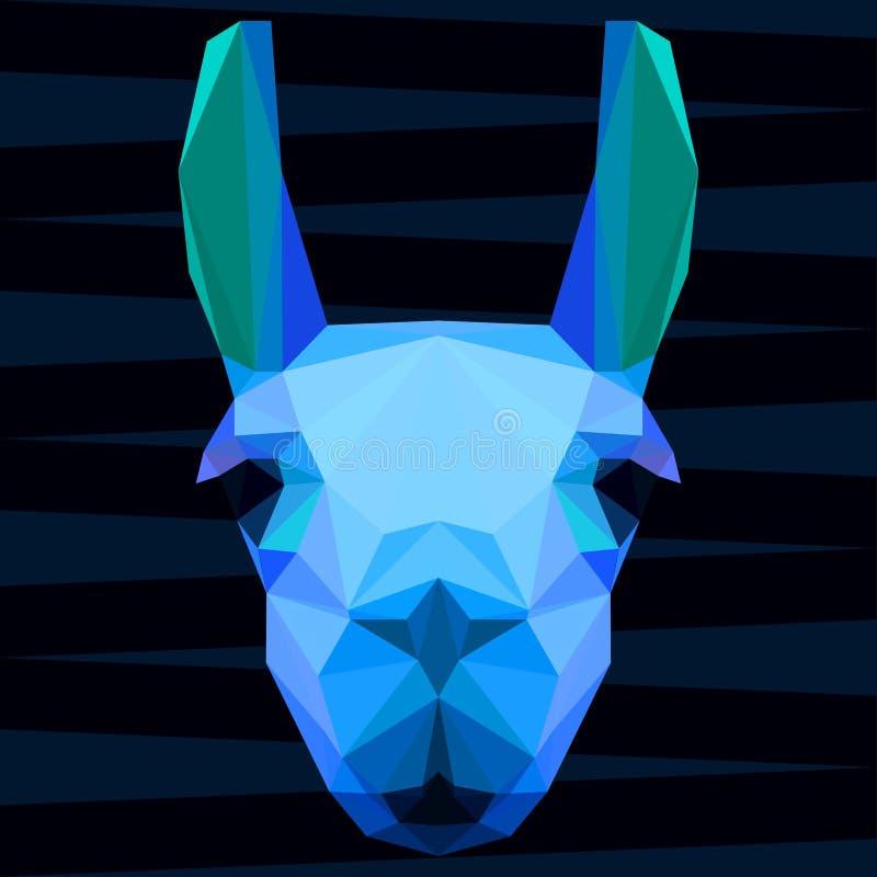 抽象多角形几何明亮的闪耀炫目蓝色上色了骆马画象用于设计 向量例证