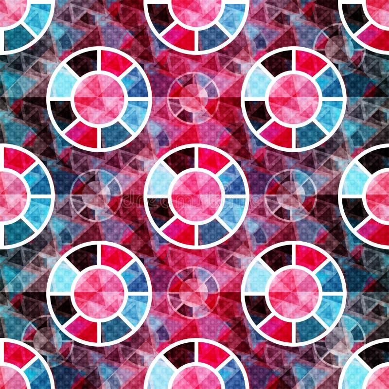 抽象多角形和圈子在一个美好的几何背景无缝的样式导航例证 皇族释放例证