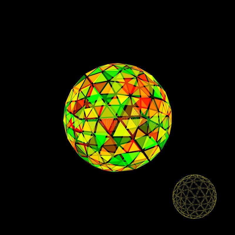抽象多角形打破的球形 3d传染媒介五颜六色的例证 皇族释放例证