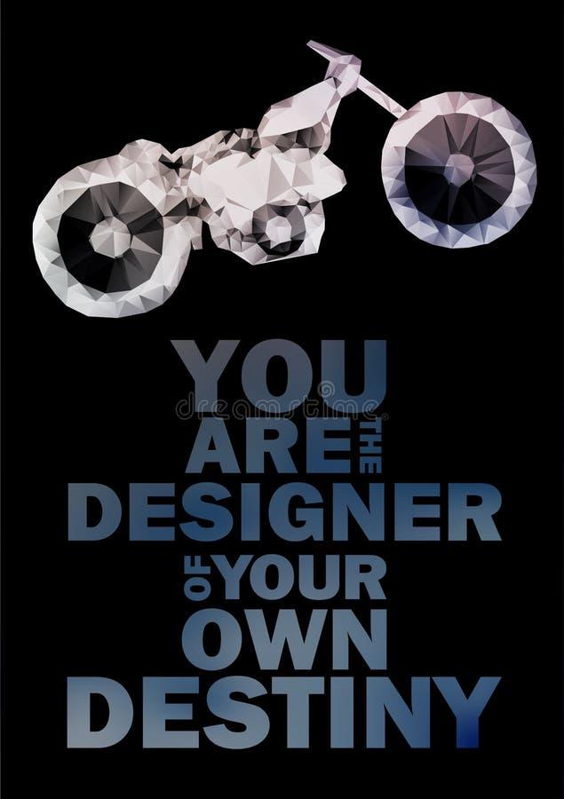 抽象多角形摩托车 向量例证